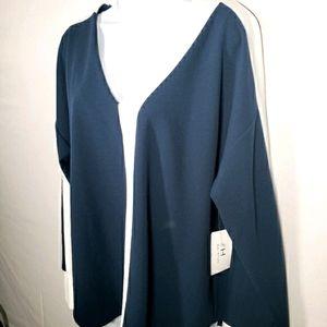 Halston Navy Blue White Long Sleeve Blouse Lrg